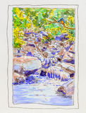 Painting of Kingfisher and rocky stream. Royalty Free Stock Photography