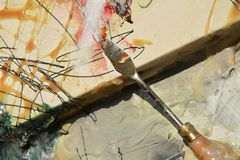 Painting knife background Royalty Free Stock Photo