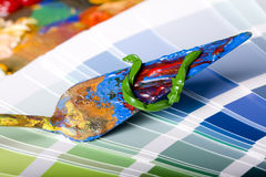 Painting knife and color chart Royalty Free Stock Photos