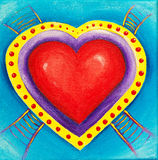 Painting of ladders leading to a red love heart. Vibrant and colorful children's painting of ladders leading to a red love heart symbolizing a path to your heart Stock Photography
