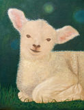 Painting of a lamb lay down on the green pasture Royalty Free Stock Photo