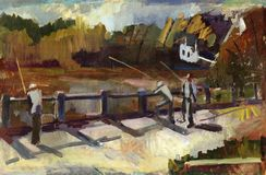 Painting landscape. Oil painting landscape with river and fishermen Royalty Free Stock Photography