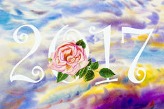 Painting landscape colorful of 2017 new year with pink rose. Watercolor painting original landscape colorful of 2017 new year with pink rose  and emotion in Stock Images