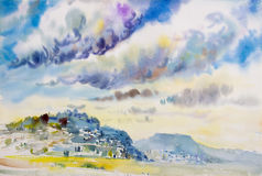 Painting landscape colorful of Rain clouds on mountain. Royalty Free Stock Photography