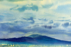 Painting landscape colorful of trees meadow field in mountain. Watercolor painting original landscape colorful of trees meadow field in blue mountain and Stock Photo