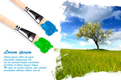 Painting landscape with copyspace Royalty Free Stock Photos