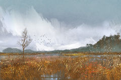 Painting of landscape with fields and meadows. Rainy weather,sad mood Stock Photos