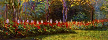Painting landscape oil color on canvas of Salvia flowers. Painting landscape oil color on canvas of Salvia flowers and emotion in the forest background stock illustration