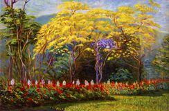 Painting landscape original oil color on canvas of tabebuia sp. Painting landscape original oil color on canvas of Salvia and tabebuia spectabilis flowers in the stock illustration