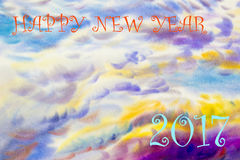Painting landscape sky colorful of 2017 Happy new year. Watercolor painting  landscape colorful of 2017 Happy new year and emotion in colorful sky,cloud Stock Image