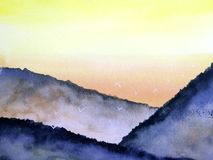 Painting landscape sunset or sunrise on the mountain fog with white birds flying in the sky. royalty free illustration