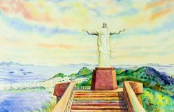 Painting  Christ the Redeemer statue. Royalty Free Stock Photography