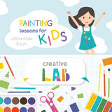Painting lessons. Top view on art-working process.  Kids creativity Lab. Banner, flyer for kids art lessons or school. Royalty Free Stock Photography