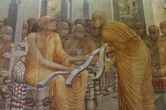 Painting of life of Buddha from Image House at Kelaniya temple complex Royalty Free Stock Photo