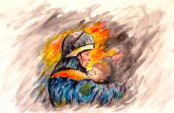 Painting Lifeguard day illustration. A Fireman with a baby in the background of fire. Watercolor and acrylic. On paper. Area for text Stock Photo