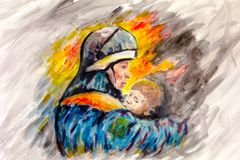 Painting Lifeguard day illustration. A Fireman with a baby in the background of fire. Watercolor and acrylic. On paper. Area for text Royalty Free Stock Photography