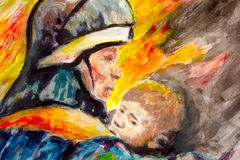 Painting Lifeguard day illustration. A Fireman with a baby in the background of fire. Watercolor and acrylic. On paper. Area for text Stock Image