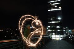 Painting with Light. Sparklers give an interesting light Royalty Free Stock Image