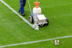 Painting lines. At the pitch Stock Images