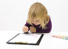 Painting little girl Stock Photography