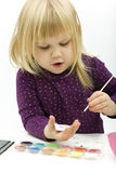 Painting little girl Royalty Free Stock Photo
