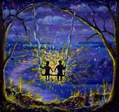 Painting Lovers boy and girl ride on a swing. The rays of love, the night scenery, the blue-violet evening, the light on the trees. Original oil painting Lovers Stock Photography