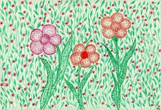 Emerald flower bed. The painting is made by colored pens and markers on paper. The image size is about A4 Royalty Free Stock Photography
