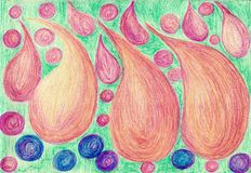 Beads and flower petals. The painting is made with colored wax crayons on paper. The image size is about A4 Stock Photos