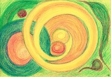 Bulb, plum and rings. The painting is made with wax crayons on paper. The image size is about A4 Stock Photography