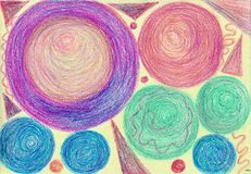 Tangles, spirals, pyramids. The painting is made with wax crayons on paper. The image size is about A4 Stock Photography