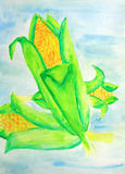 Painting of maize. Original acrylic painting of beautiful maize Royalty Free Stock Image