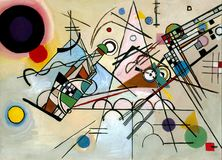 Painting in manner of Vasily Kandinsky. Hand drawn Composition VIII, 1923 Royalty Free Stock Photos