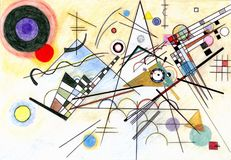 Painting in manner of Vasily Kandinsky. Hand drawn Composition VIII, 1923 Royalty Free Stock Photo
