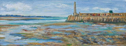 Painting of Margate Harbour and lighthouse Stock Photo