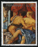 Painting Mars and Venys by Veronese. RUSSIA KALININGRAD, 15 APRIL 2017: stamp printed by Paraguay, shows Painting Mars and Venys by Veronese, circa 1976 Stock Photo
