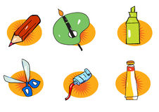 Painting materials. A set of painting materials. ai file also available Stock Images