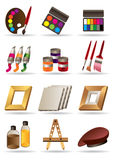 Painting materials for artists. Painting materials  and tools for artists icons set -  illustration Royalty Free Stock Photos