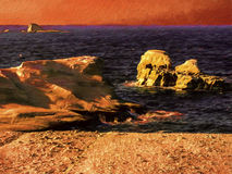 Painting of Milos island sea view with rocks and waves Stock Images