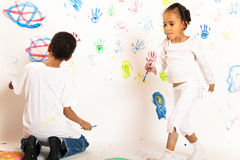 Painting Mixed Race Kids Stock Image