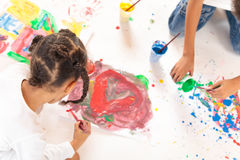 Painting Mixed Race Kids Royalty Free Stock Photography