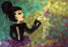 Avant Garde Woman. Painting of a mod avant-garde woman with a fantasy lighted background royalty free illustration