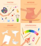 Painting Modeling Origami Scrapbooking Posters Set. With paper figures, paints with brushes, process of making pot from clay and cutting vector Stock Image