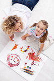 Painting with mom Royalty Free Stock Image