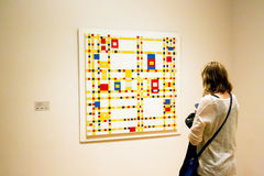 Painting by Mondrian in MoMA of New York Royalty Free Stock Photos