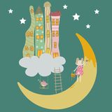 Painting the Moon vector illustration