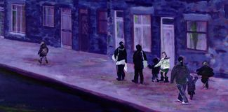 Painting of mothers and children on a street in winter. Stock Photos