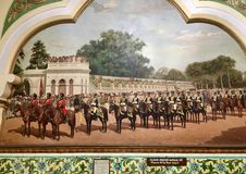 The Mysore Rear Horse Guard during a royal procession in Mysore. Painting of the Mysore Rear Horse Guard during a royal procession in the Princely state of Stock Photography