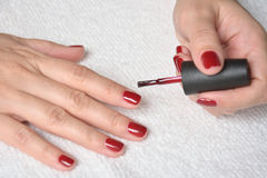 Painting nails with red nail polish Royalty Free Stock Photo