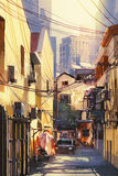 Painting of narrow street with buildings Royalty Free Stock Images