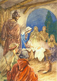 Painting of Nativity Manger Stock Images